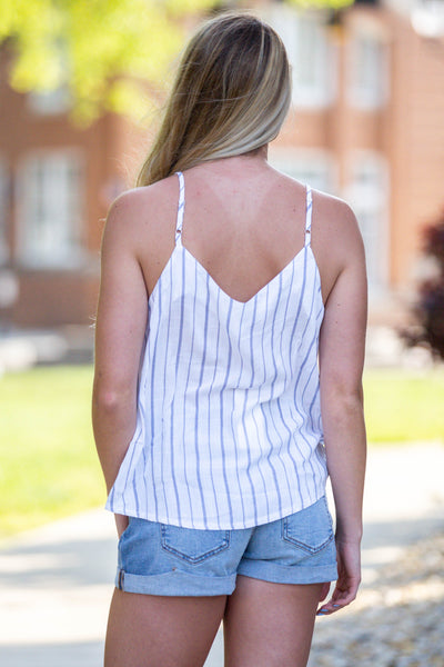Happy Days-Tie Front Striped Tank