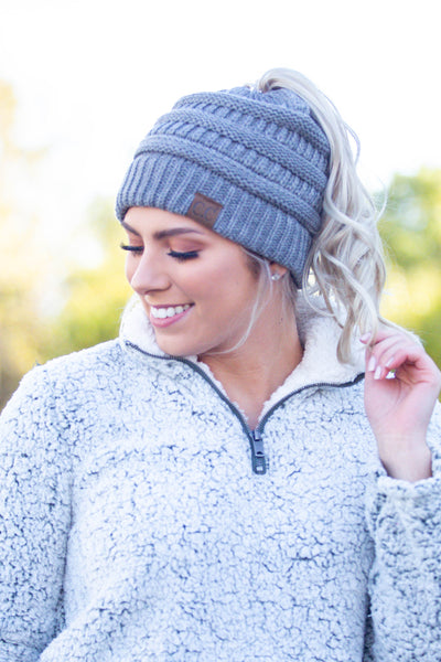 Chill Out- Light Grey Messy Bun Beanie