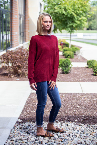 Whole Lotta Love-Slouchy Lightweight Sweater Wine