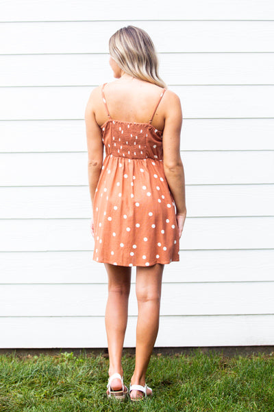 Sienna- Polka Dot Button Dress