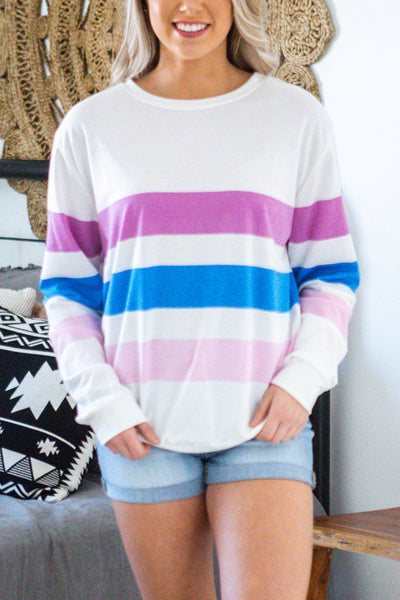 Wide Open-Striped Long Sleeve Top