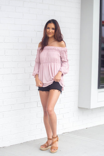 Sophie-Off Should Long Sleeve Ruffle Top