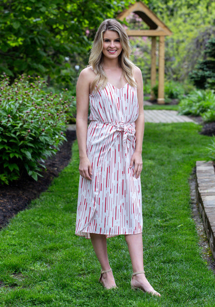 Lovely Day- Printed Front Wrap Midi Dress