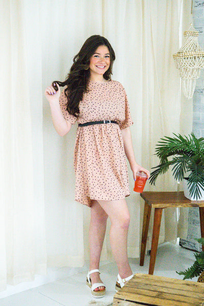 Rising Sun-Polka Dot Babydoll Dress