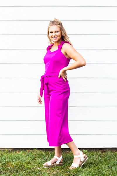 Pep in Your Step- Ruffle Strap Jumpsuit Magenta
