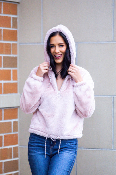 Warm and Fuzzy-Teddy Bear Sweatshirt Blush
