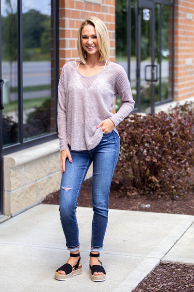Too Good-Long Sleeve Dolman Taupe