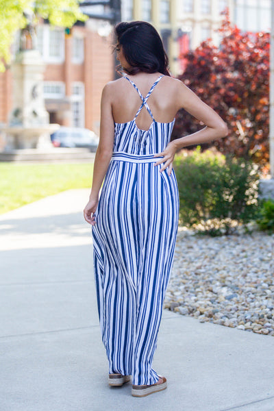 Fly Away-Striped Maxi Romper