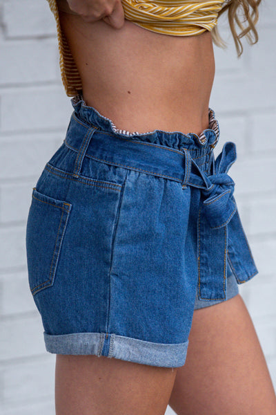 Roll With It- Belted Paper Bag Denim Shorts