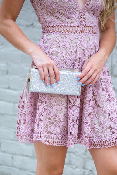 Stand Out- Glitter Clutch Silver