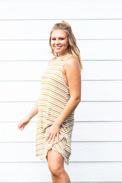 Harmony- Striped High Neck Dress