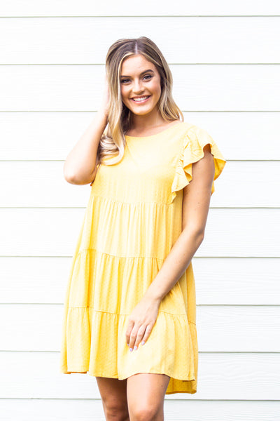 Date Night- Dot Ruffle Babydoll Dress Sunshine