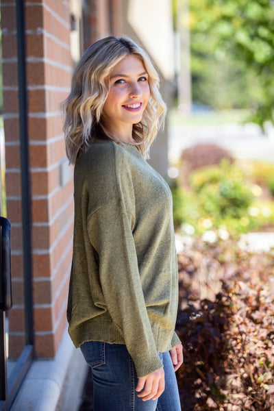 Whole Lotta Love-Slouchy Lightweight Sweater Olive