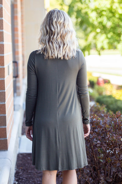 Omg We're Back Again- Olive Shirt Dress