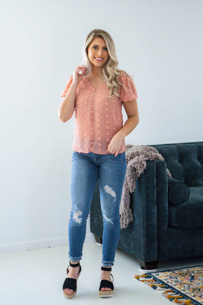 Girl Talk-Short Sleeve Textured Blouse