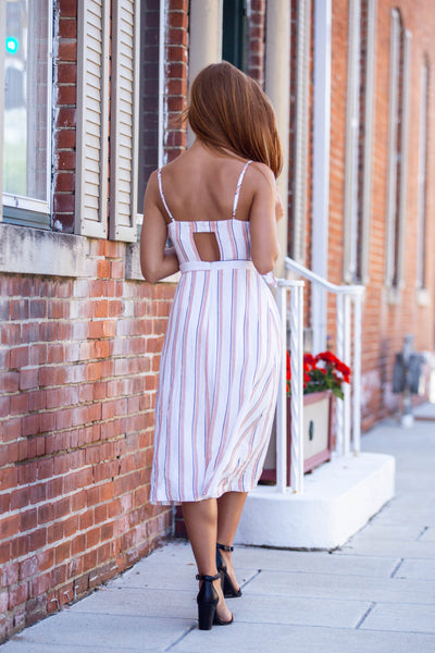 Sweet Surrender-Tie Front Midi Dress Striped
