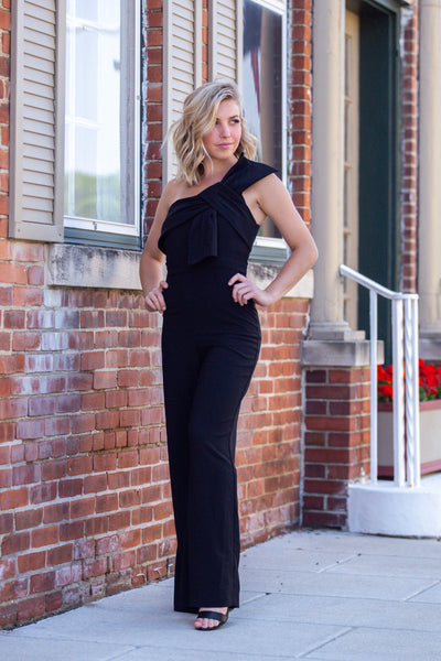 On the Heart- One Shoulder Jumpsuit Black