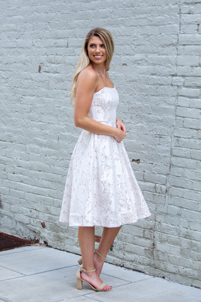 Sweetheart- Strapless Lace Midi Dress