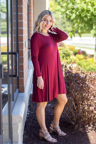 Omg We're Back Again- Burgundy Shirt Dress
