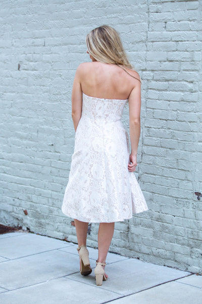 Bride To Be- Strapless Lace Midi Dress