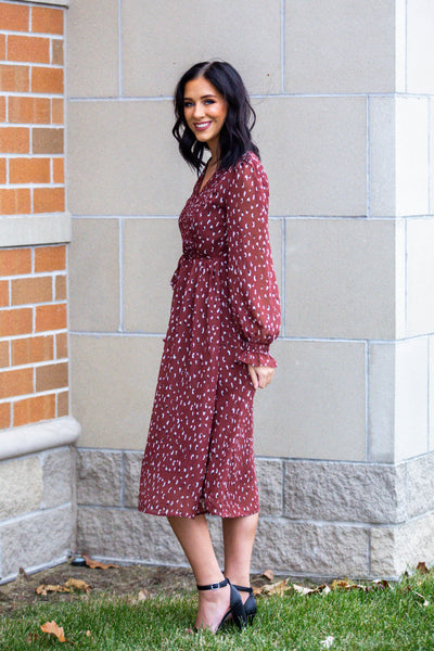 Going On-Spotted Print Midi Dress