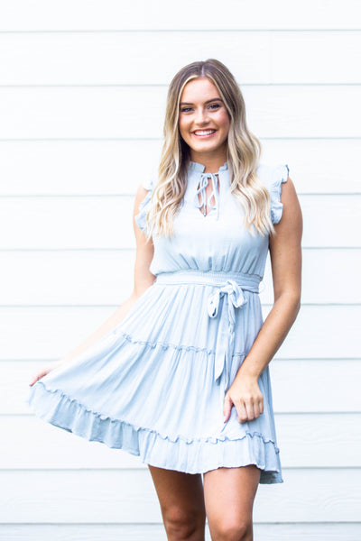Bloom- Ruffled Neck Smocked Dress Dusty Blue