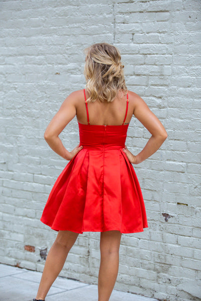 London-Satin VNeck wFlare Skirt Red
