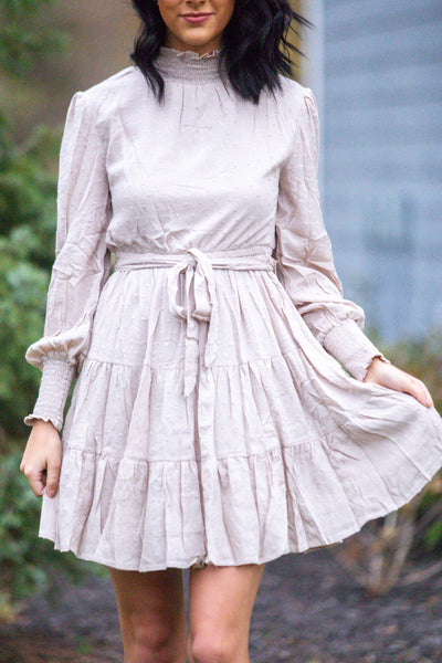 Oh So Chic-Smock Neck Ruffled Dress
