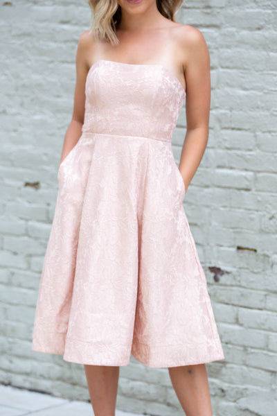 Bride To Be-Strapless Lace Midi Dress Blush