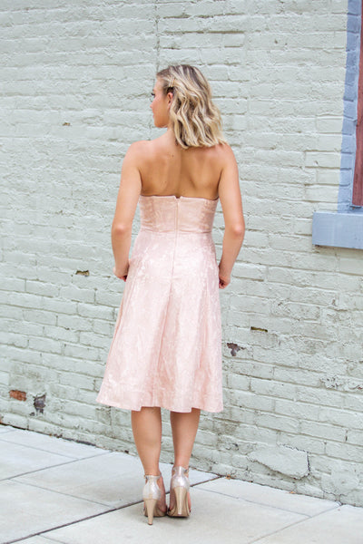 Sweetheart-Strapless Lace Midi Dress Blush
