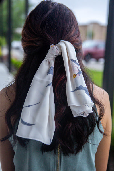 Claire-White Floral Hair Scarf