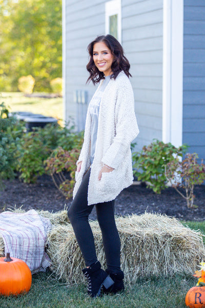 Laters Babe-Textured Oversized Cardigan Ivory