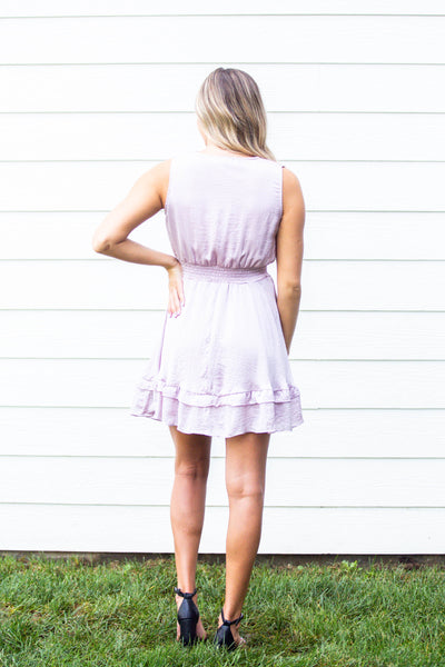 Darling- Sleeveless Woven Smocked Dress Misty Pink