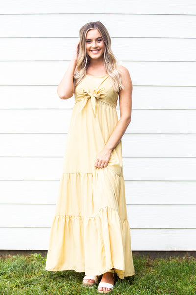 Fond of You- Tiered Maxi Dress wFront Tie
