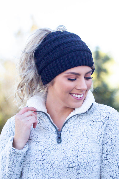 Chill Out- Black Messy Bun Beanie