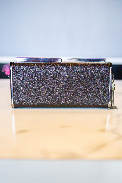 Stand Out- Glitter Clutch Black