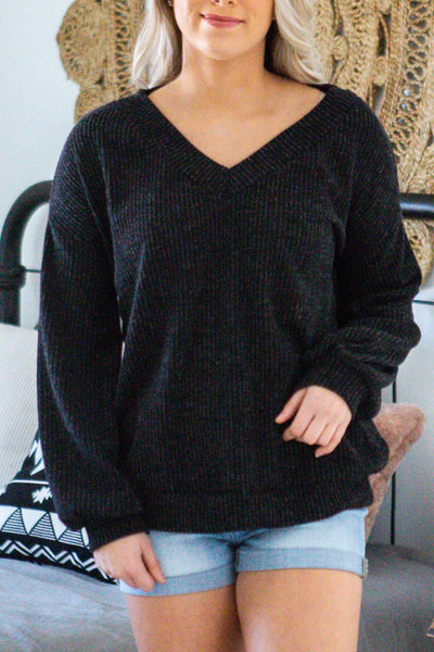 Midnight-VNeck Longsleeve Knit Top