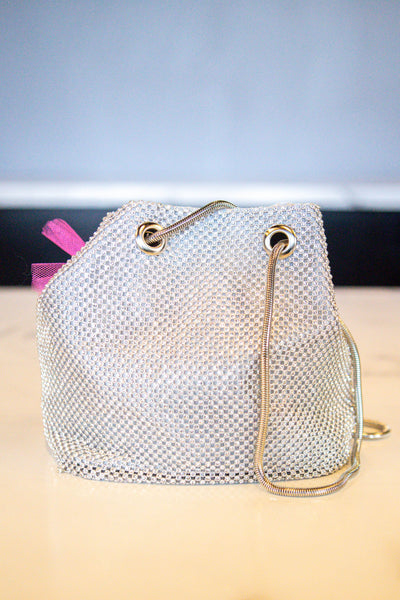 Untouchable- Rhinestone Cinch Bag Silver