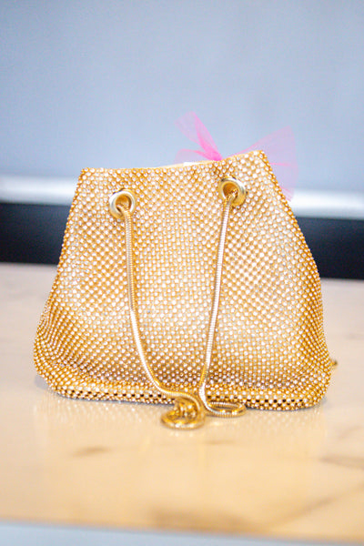 Untouchable- Rhinestone Cinch Bag Gold