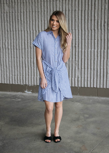 Sail Away- Striped Front Tie Dress