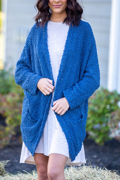Laters Babe-Textured Oversized Cardigan Dusty Blue