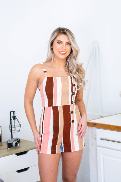 Feel The Sun-Striped Romper wButtons