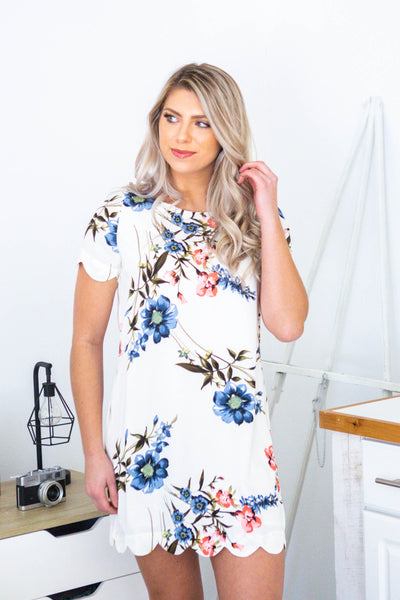 Cherish-Floral Scalloped Hem Dress