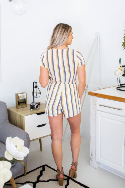 Picnic-Striped Wrap Romper