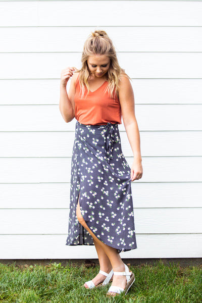 Brunch Date- Floral Wrap Front Midi Skirt