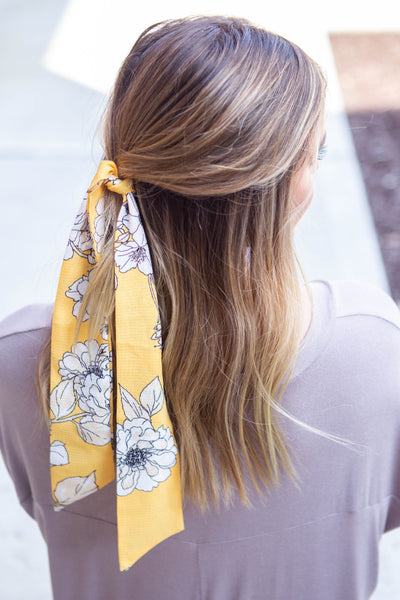 Yellow/White Floral Hair Scarf