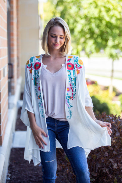 Summer Flowers- Floral Embroidered Kimono