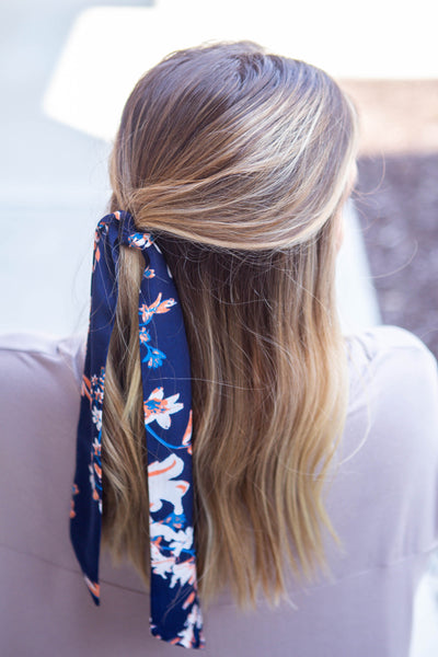 Delilah-Navy Floral Hair Scarf