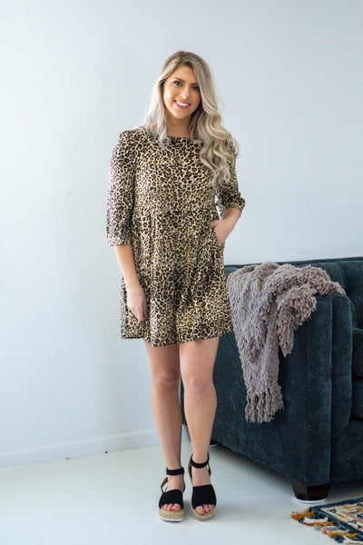 Living For This-Leopard Babydoll Dress