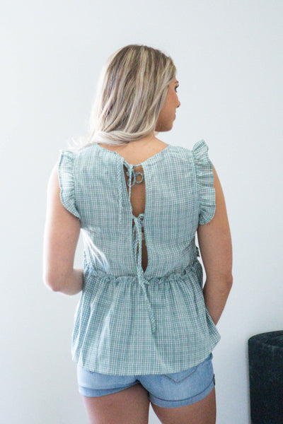 Easy Livin'-Plaid Ruffle Sleeveless Top